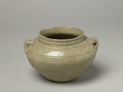 Greenware guan, or jar, with loop handlesoblique