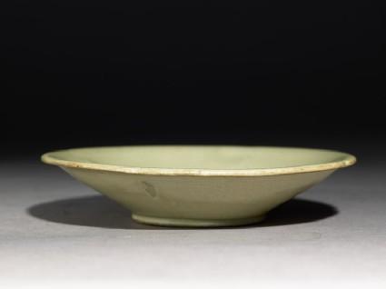 Greenware dish with foliated rimoblique