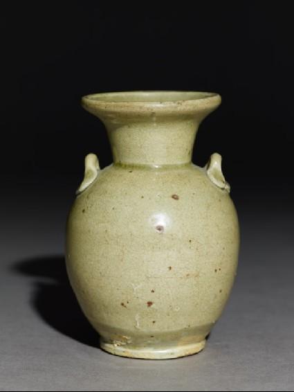 Greenware jar with loop handlesside
