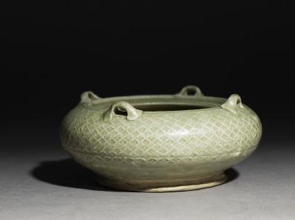Greenware water pot with loop handlesoblique