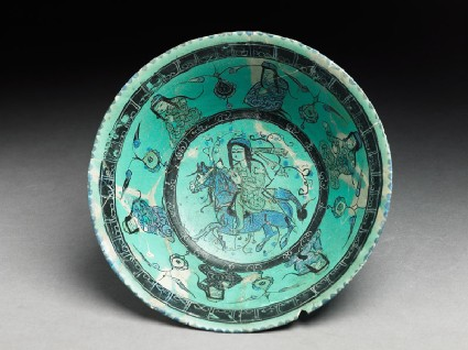 Bowl with horseman, female figures, and pseudo-kufic inscriptiontop