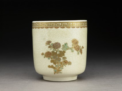 Satsuma cup with chrysanthemums and key pattern borderside