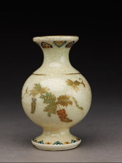 Satsuma vase with flowers and geometric patternsfront