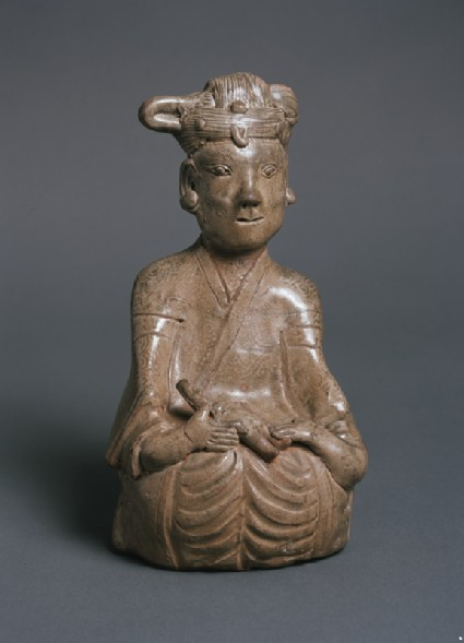 Greenware burial figure of woman and childfront
