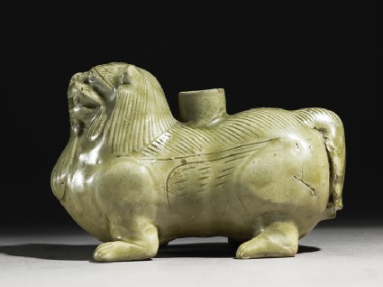 Greenware vessel in the form of a lionside