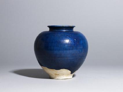 Blue-glazed jarside
