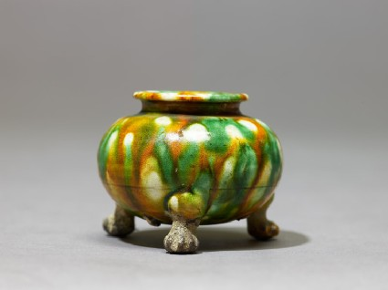 Tripod jar with three-colour glazeside