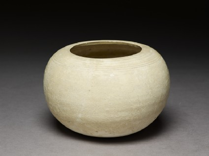 Globular white ware bowloblique