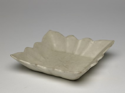 White ware dish with lotus flowersoblique