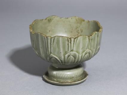 Greenware stem cup with lotus petalsoblique