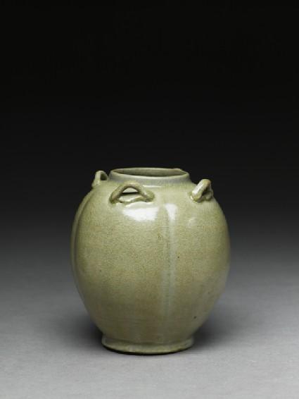 Greenware jar with four loop-handlesoblique