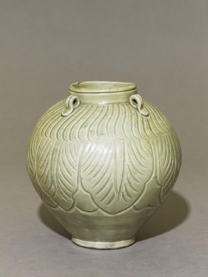 Greenware jar with lotus leavesoblique