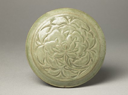 Greenware circular box and lid with peony decorationtop