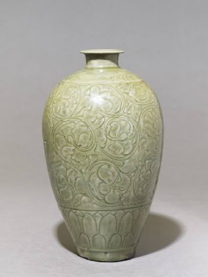 Greenware meiping, or plum blossom, vase with peony scroll decorationside