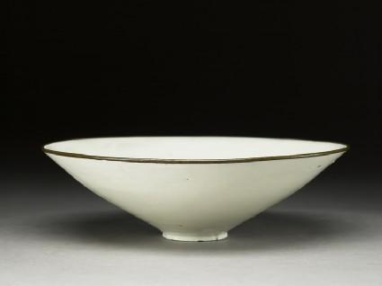 White ware bowl with floral decorationoblique
