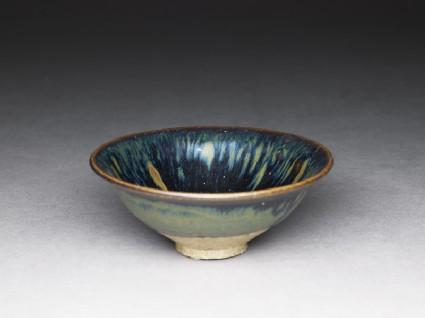 Black ware bowl with iron glazesoblique