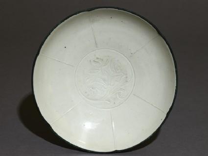 White ware bowl with lotus designtop