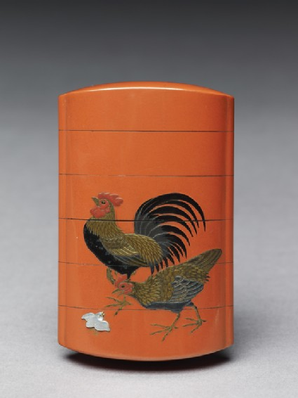 Inrō with chickens and begoniasfront