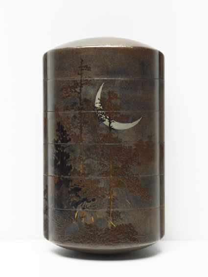 Inrō with egrets and trees under a crescent moonfront