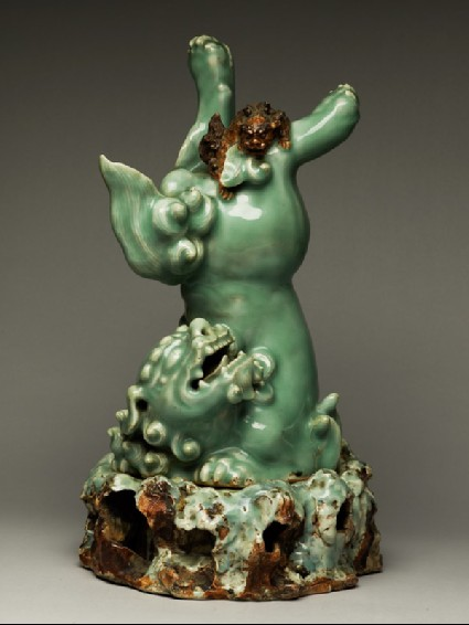 Figure of a shishi, or lion dog, and cubside