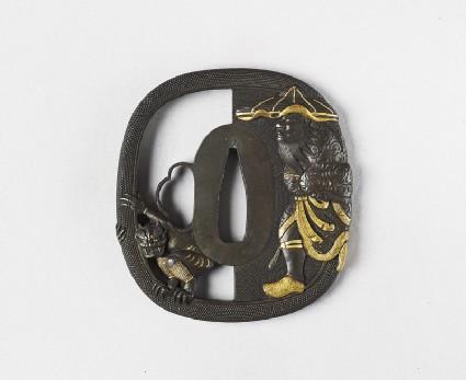 Tsuba depicting Shōki pursuing a demonfront