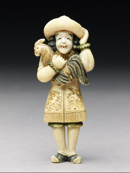 Netsuke in the form of a Dutchman holding a cockerelfront