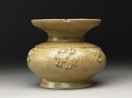 Greenware guan, or jar, with dish-shaped mouth and riding horsesside