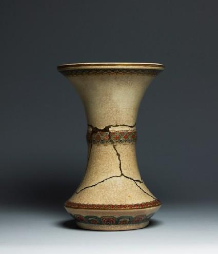 Satsuma vase with geometric bordersfront