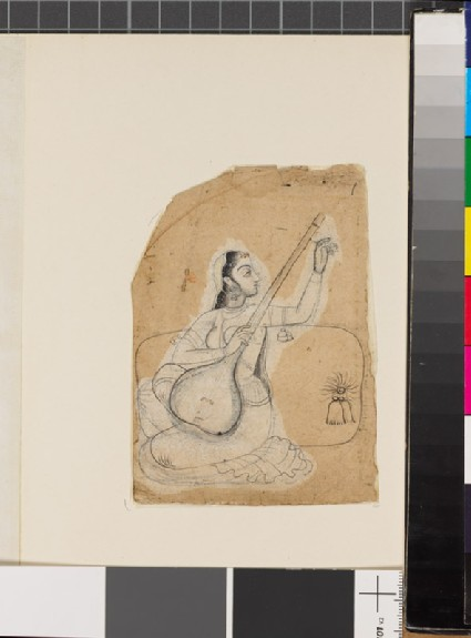 Seated woman with a stringed instrumentfront