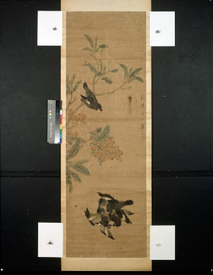 Birds and branchfront, painting only