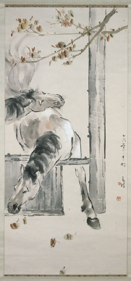 Horses at a fencefront, painting only