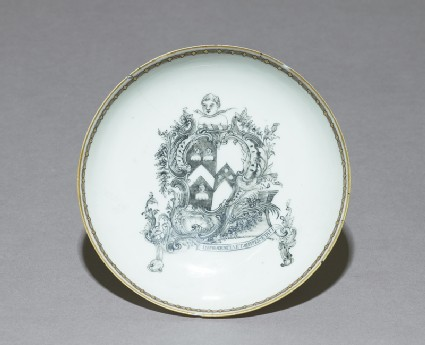 Saucer with the arms of Vaughn of Brecknockshire impaling Bondtop