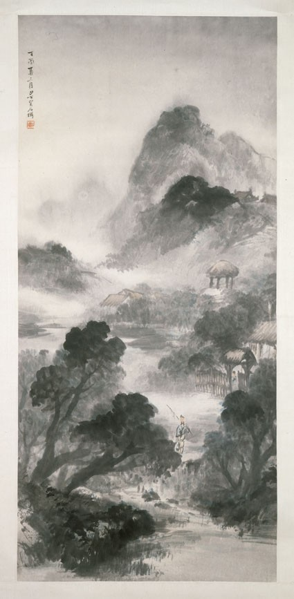 Landscape with a figure and buildingsfront, painting only