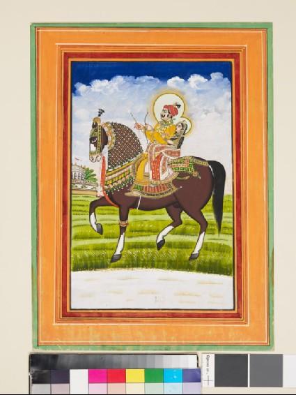 Equestrian portrait of a Raja and his consortfront