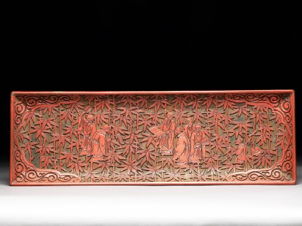 Pen tray depicting the Seven Sages of the Bamboo Grovefront
