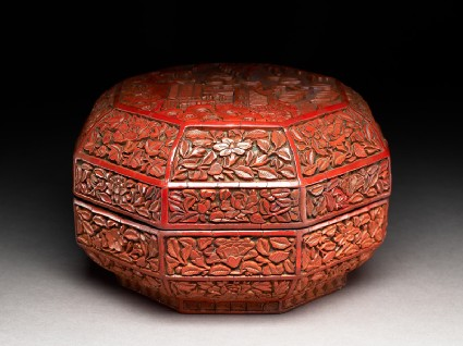 Octagonal box with flowers and a garden sceneoblique