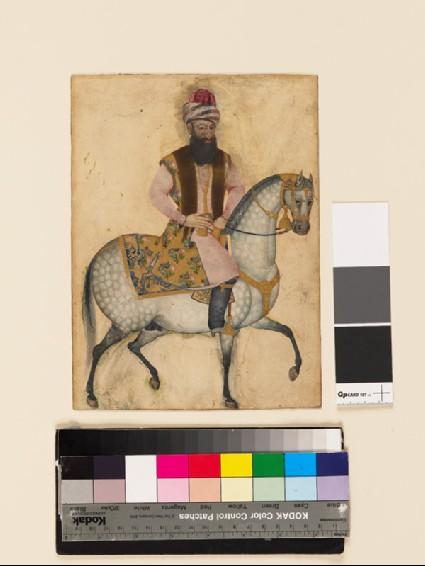 Portrait of Mu'izz al-Din Mustawfi Ghaffari on horsebackfront
