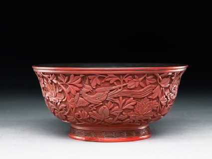 Lacquer bowl with a phoenix amid peoniesoblique