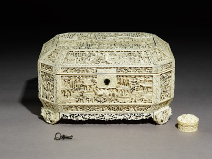 Ivory sewing box with floral decoration and figuresoblique