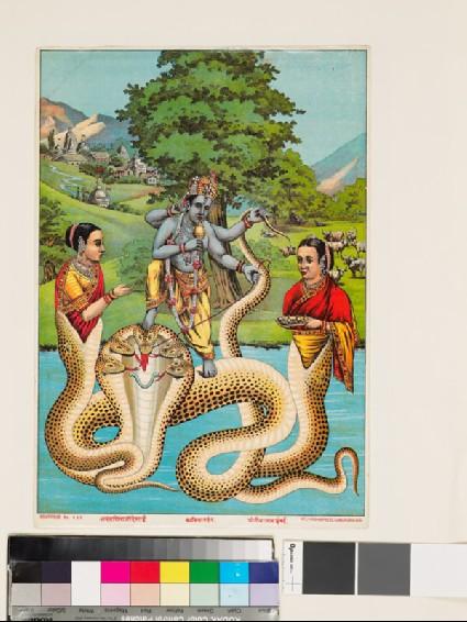 Krishna Kaliyamardana killing the serpent Kaliya in the Jumna Riverfront