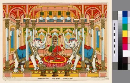 The goddess Mahalakshmi flanked by two white elephantsfront