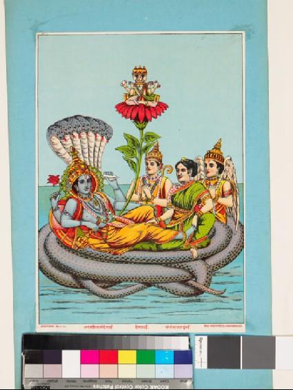 Vishnu reclining on the serpent Sheshafront