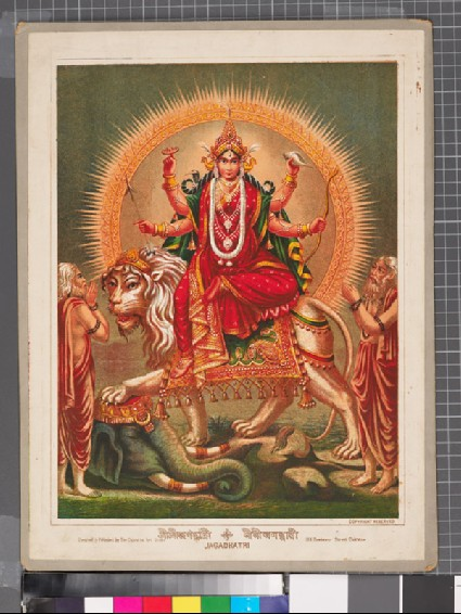 Jagaddhatri mounted on a lion, treading an elephant underfootfront