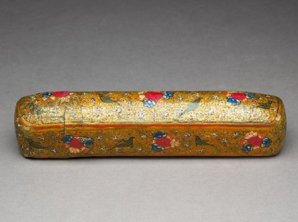 Qalamdan, or pen box, with birds and flowersoblique
