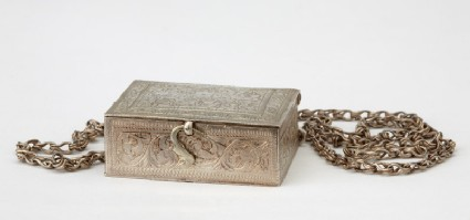 Hirz, or amulet case, containing inscribed paperoblique