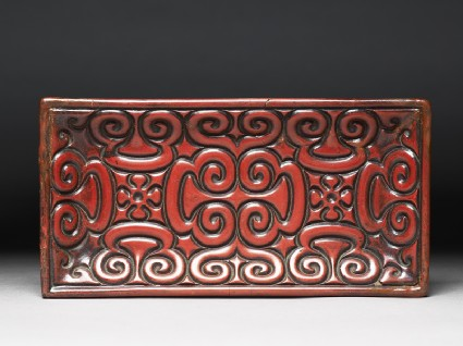 Carved lacquer tray with guri scrolling designtop