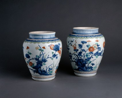 Baluster jar with floral decorationgoup