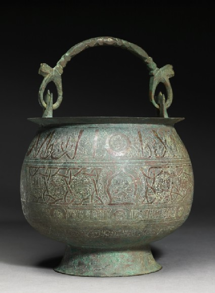 Bucket inscribed with good wishes and zodiacal signsside