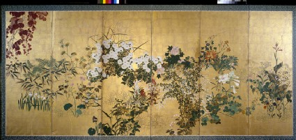 Screen with autumn and winter flowersfront