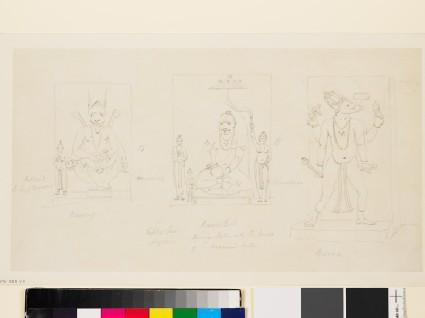 Drawing of three reliefs of deitiesfront
